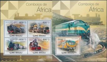 Afrikai mozdonyok kisív + blokk, African locomotives minisheet + minisheet