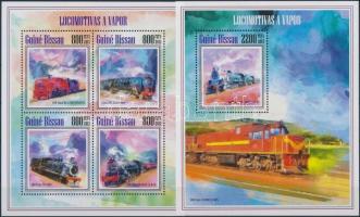 Gőzmozdonyok kisív + blokk, Steam locomotives minisheet + block