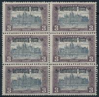 Nyugat-Magyarország III. 1921 Parlament 3K hatostömb (9.000) / Mi 28 block of 6, Signed: Bodor