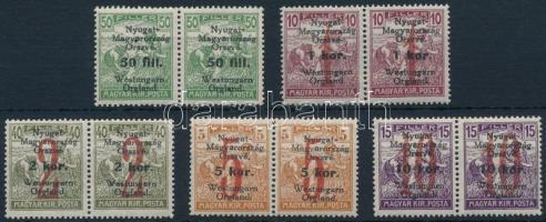 Nyugat-Magyarország VI. 1921 5 klf Arató pár, egy érték hármaslyukasztással (8.050) / Mi 63-65, 67-68 pairs, 1 stamp with 3 hole punching. Signed: Bodor