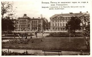Belgrade, Lancienne et la Nouvelle Université vue du Jardin Académique / The Old and New Universities from the Academic Gardens (worn edges)