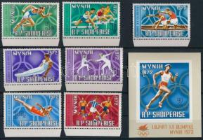 1971 Nyári olimpia ívszéli sor Mi 1499-1505 + blokk 42
