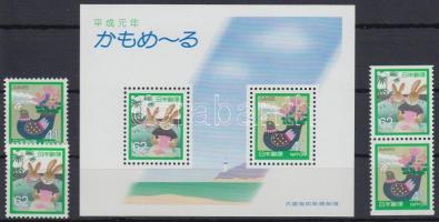 Correspondent week 2 diff stamp pairs + block, Levelező hét 2 klf bélyegpár + blokk