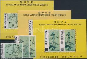 Paintings set + blockset, Festmények a Yi- dinasztia idejéből sor + blokksor