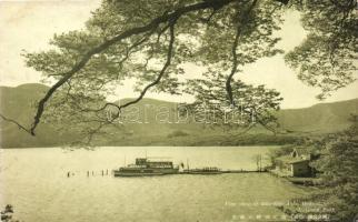 Ashi Lake, Hakone; National Park, pier with ships