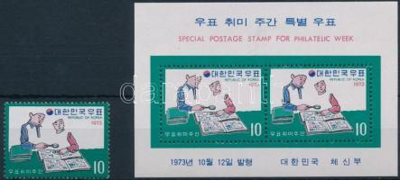 Stamp Collecting week + block, Bélyeggyűjtés hete + blokk
