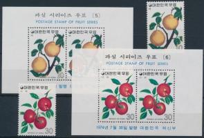 1974 Gyümölcsök (3.) sor Mi 927-928 + blokksor 385-386