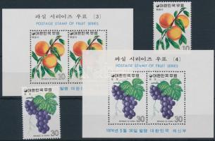 Fruits (2) set + block set, Gyümölcsök (2.) sor + blokksor