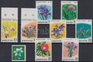 Flower 9 diff stamps with sets, Virág motívum 9 klf bélyeg, közte sorok