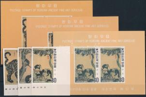 1970 Festmények a Yi- dinasztia idejéből vágott sor Mi 739-741 B + vágott blokksor 314-316 B