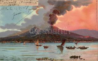 1898 Naples, Napoli; Il Vesuvio / Mount Vesuvius in eruption, Richter & Co., litho