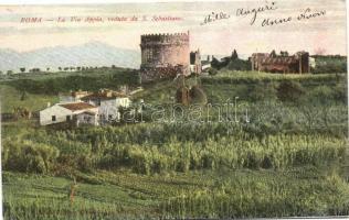 Rome, Roma; La Via Appia, veduta da S. Sebastiano / view of the Via Appia from San Sebastian