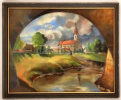 Olvashatatlan jelzéssel: Szentkúti Szűz Mária Neve-templom, Jászberény. Pasztell, papír, üvegezett keretben, 48×62 cm