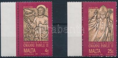 1990 II. János Pál pápa látogatása ívszéli sor + kisív Mi 841-842