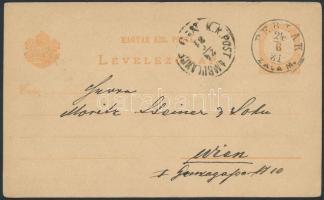 1881 Díjjegyes levelezőlap PERLAK ZALA M osztrák vasúti bélyegzéssel Bécsbe