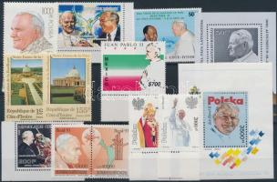 Pope John Paul II 1990-1991 11 diff stamps + 2 diff block + 4 FDC, II. János Pál pápa motívum 1990-1991 11 klf bélyeg + 2 klf blokk + 4 klf FDC