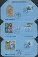 1989-1991 3 Aerogramm with first day cancellation, 1989-1991 3 klf Aerogramm elsőnapi alkalmi bélyegzéssel