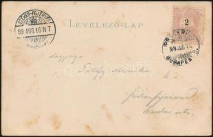 1899 2kr képes levelezőlapon PRAGERHOF - BUDAPEST 8. vasúti és SZÉKES-FEJÉRVÁR érkezési bélyegzéssel