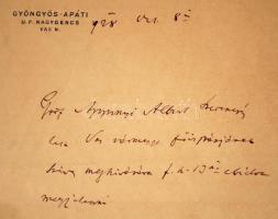 1928 gróf Apponyi Albert (1846-1933) saját kézzel írt levele dr.Tarányi Ferenc vas megyei főispánnak, ebédmegjelenés bejelentése.