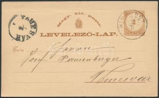 1870 2kr díjjegyes levelezőlap HIDEG KÚT / TEMES