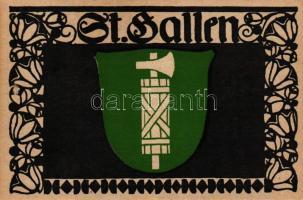 St. Gallen; coat of arms, Entwurf von Paul Hosch und Hans Melching, Schweizer Werkstätten Postkarte, St. Gallen; címer