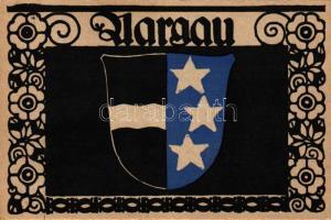 Aargau; coat of arms, Entwurf von Paul Hosch und Hans Melching, Schweizer Werkstätten Postkarte, Aargau; címer