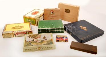 9 db különféle szivaros doboz (Corps Diplomatique, Schimmelpenninck, stb.), különböző méretben