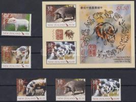 Chinese New Year: Year of Pig set + block, Kínai újév: Disznó éve sor + blokk