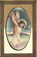 Crucified Jesus, golden art postcard, B.N.K. Serie 80. litho
