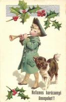 Christmas, child, dog, Erika Nr. 3720. Emb. litho (EK)