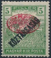 Debrecen 1919 I lemez / Arató / Köztársaság 5f piros felülnyomással (80.000) / Plate I Harvester / Köztársaság 5f with red overprint. Signed: Bodor