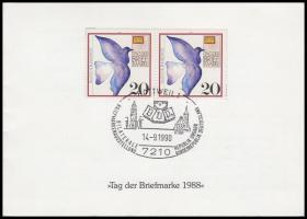 1983 NSZK-Magyarország bélyegkiállítás emléklap magyar blokkal, német bélyegpárral