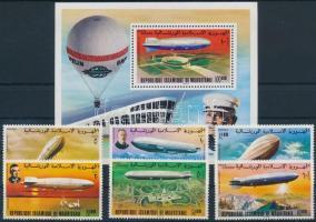 1976 70 éves a Zeppelin sor Mi 539-544 + blokk 15