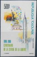 Centenary of Statue of Liberty set imperforated value, 100 éves a Szabadságszobor sor vágott értéke