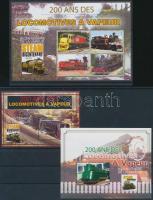 200th anniversary of Steam locomotive (2004) mini sheet + blockset, 200 éves a Gőzmozdony (2004) kisív + blokksor