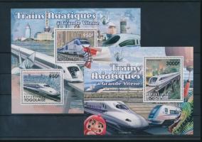 Asian high-speed trains mini sheet + block, Ázsiai nagysebességű vonatok kisív + blokk