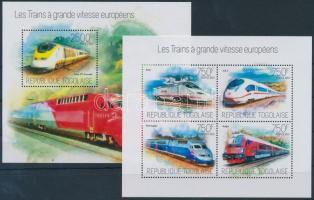 European high-speed trains mini sheet + block, Európai nagysebességű vonatok kisív + blokk