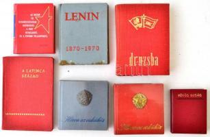 cca 1960-89 Vegyes kommunista, szocialista minikönyvek, 7 db.