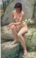 Spring / Erotic nude art postcard s: A.J. Chantron, Tavasz, erotikus meztelen művészeti képeslap s: A.J. Chantron