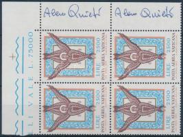 Mosaic corner block of 4 signed, Mozaik ívsarki 4-es tömb az ívszélen a tervező aláírása