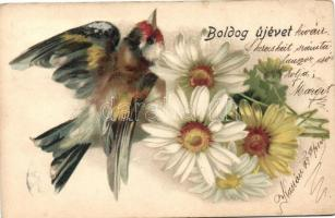 1899 New Year, flowers, bird; Breitner Mór litho (EK)