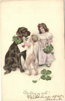 New Year, children with dog, clover, H.H.I.W. Serie 926.
