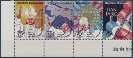 II. János Pál pápa látogatása ívsarki négyescsík Pope John Paul II corner stripe of 4