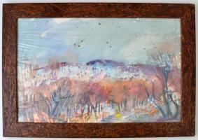 Antal Irén (1903-1999): Őszi táj, akvarell, papír, jelzett, fa keretben, 49,5×31,5 cm
