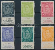 1933 Nemzetközi Írók Egyesülete sor Mi 249-254 (Mi 253 falcos / hinged)