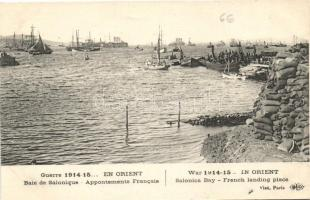 Thessaloniki, Salonica, Salonique; Baie de Salonique Appontements Francais / Salonica Bay French landing place, WWI, Szaloniki, Thesszaloniki; Thermaikos-öböl, a francia partraszállás helyszíne az I. világháborúban