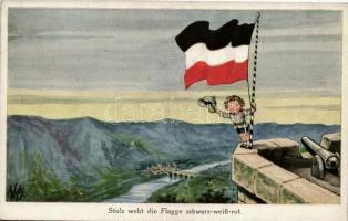 Stolz weht die Flagge schwarz-weiss-rot / German soldier boy, flag, A.R. & C.i.B. No. 731/2., Német katonafiú zászlóval, A.R. & C.i.B. No. 731/2.