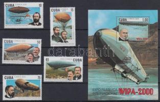 Stamp Exhibition; Airship set + block, Bélyegkiállítás; Léghajó sor + blokk