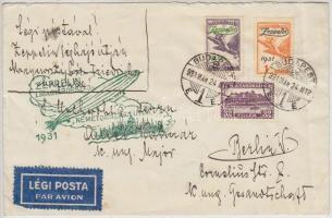1931 Zeppelin Magyarország - Németországi útja levél a Honvédelmi Minisztériumból a berlini magyar követségre, Zeppelin 1P és 2P bérmentesítéssel, zöld bélyegzővel / Zeppelin Hungary - Germany flight cover to Berlin