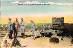 Colonel Andrea dans la Colonne du Soueida / Lebanese military postcard, officers, Francia ezredes libanoni katonák körében